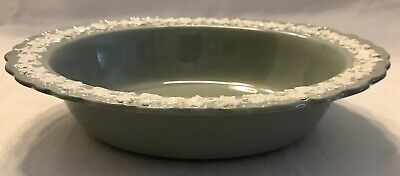 "WEDGWOOD QUEENSWARE Cream On Celadon Green 9"" OVAL VEGETABLE BOWL SHELL EDGE"
