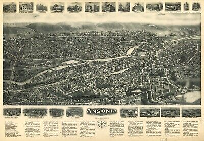 A4 Reprint of American Cities Towns States Map Ansonia Conneticut