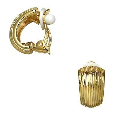 "Mediterranean Ribbed Earrings 0.62"" Huggie Hoop Clip On Yellow Gold Finish"