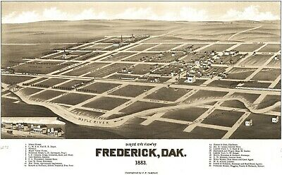 A4 Reprint of Old Maps 1883 Frederick Dak Map