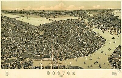 A4 Reprint of Old Maps 1899 Map Of Boston