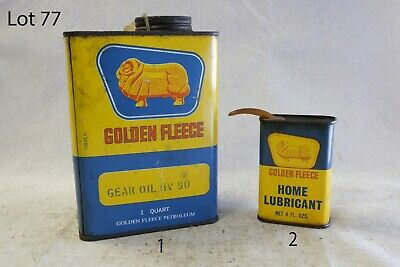 Vintage Golden Fleece Oil Cans Antique Rare Collectable 2 Pieces (Lot: 77)