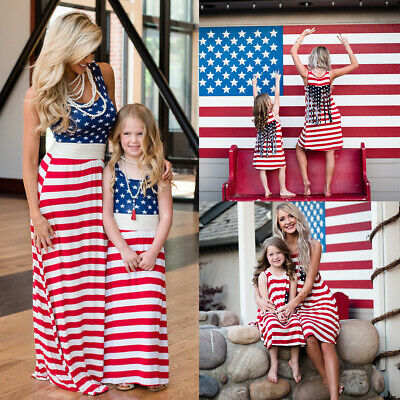 a4b1781be9c5 4th of July Mother & Daughter Dress American Flag Family Matching Beach  Sundress