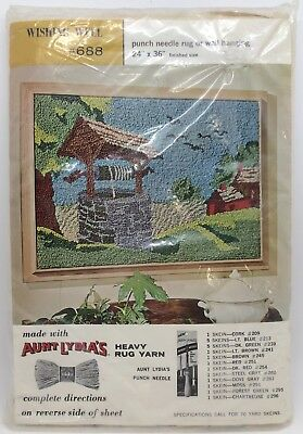 """Aunt Lydia's Wishing Well #688 Punch Needle Rug or Wall Hanging 24x36"""" (RF918)"""