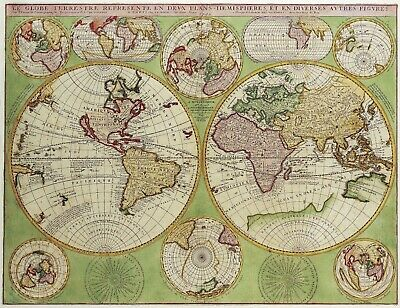 A4 Reprint of Old Map Of The World