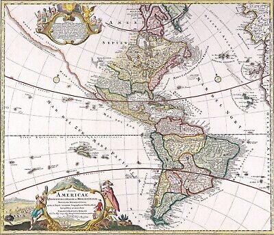 A4 Reprint of Old Maps Old Map Of Americas 6