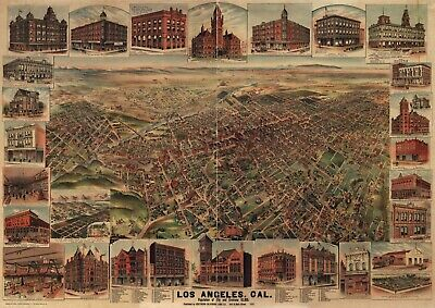 A4 Reprint of Old Maps Los Angeles 1891 Reprinted Colour Map High Detail
