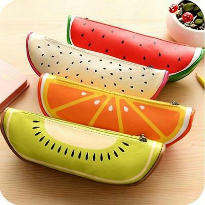 Fruit Pencil Pen Case Stationary Supplies Cosmetic Makeup Storage Zipper Bag SO