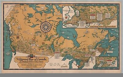 A4 Reprint of Old Maps 1936 Reprint Literary Map Canada