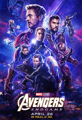 Movie Avengers Endgame Poster 2019 Film Cover Decor Print 18x12 36x24 40x27""