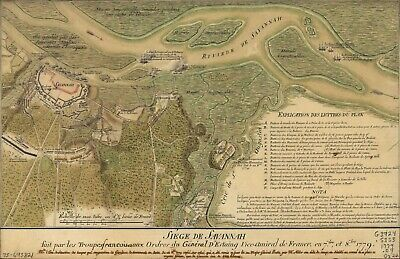 A4 Reprint of Old Maps 1779 Map Siege De Savannah Genereal D'Esting