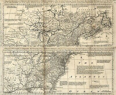 A4 Reprint of Map 1700s Two Part Setlements British & French N America