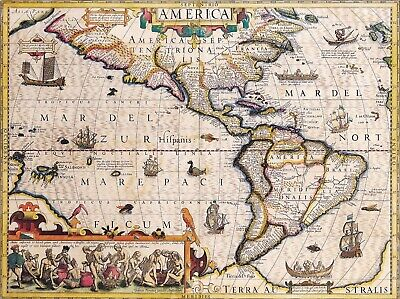 A4 Reprint of Old Map Of the Americas