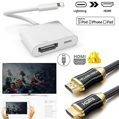 4K Lightning To HDMI Digital AV TV Cable Adapter For iPad iPhone Xs Max Xr X 6 7