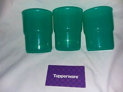 TUPPERWARE STACKABLES TUMBLERS TEAL GREEN SMALL CUPS 8 oz