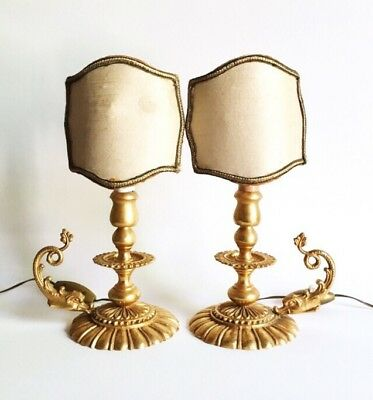 Antique French Gilt Empire Style Chamberstick Candlestick Accent Lamps, 1930s