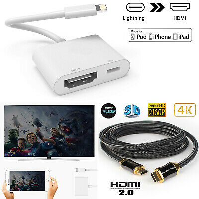 Ultra Hi-Speed UHD HDMI v2.0 Cable 3D 4K+Lightning iPhone iPad to HDMI AV Cable