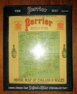 Road Map THE PERRIER MOTOR MAP OF ENGLAND & WALES 1922 Hardback BOOK