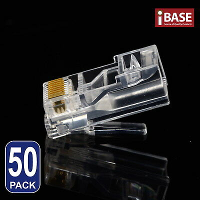 50x RJ45 Connector Modular Plug Crimp 8P8C CAT5e CAT5 CAT6 LAN Network Ethernet