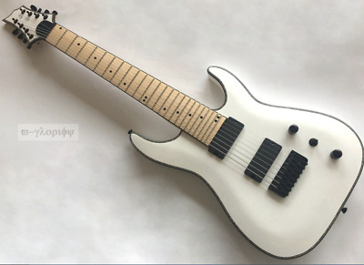 White 8 String Electric Guitar With Celluloid Binding Mahogany Body Tone 22