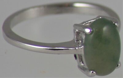 BNWOT silverplated costume ring with oblong green stone U.K Size L