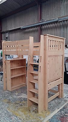 Handmade Solid Pine Slatted High Sleeper Bookcase/Wardrobe/Desk Option