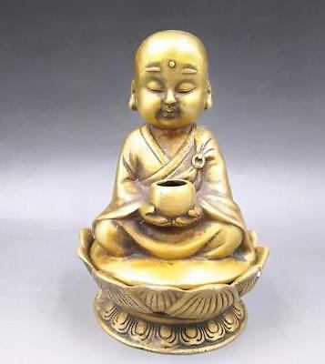 Exquisite Chinese Old brass lotus The monk hug bowl incense burner. YR