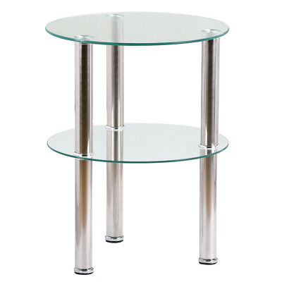 Small Round Clear Glass 2 Tier Coffee Table  Modern Side  End Table Used