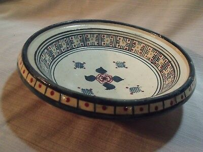 """Antique Islamic Pottery Hand Painted Signed Safi 10 1/2"""" Bowl"""