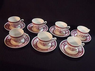 Set Of (7) Antique Oscar Schaller Pink And White Floral Teacups And Saucers