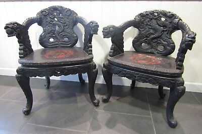 Pair of Black Wooden Ornate Chinese Dragon Chairs