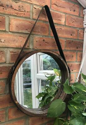 Large Retro Style Brown Deep Frame Round Porthole Mirror Wall Hanging Loop 35cm