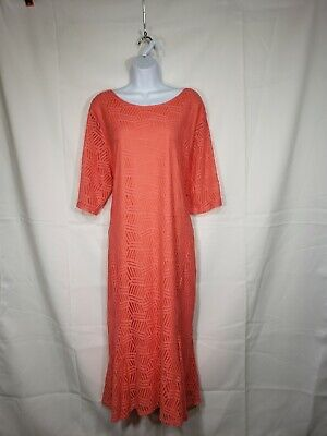 CATO WOMENS plus Size 3X 22 24X LACE Dress Orange short Sleeves NWT