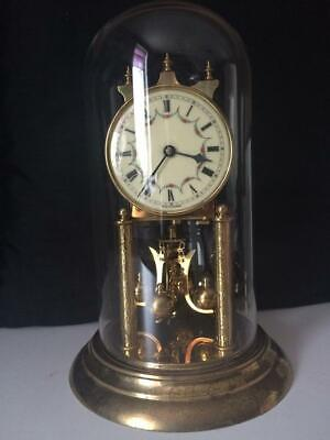 """German Made Glass Dome Anniversary Clock """"Kern & Sohne"""". The symbol is a """"KS"""