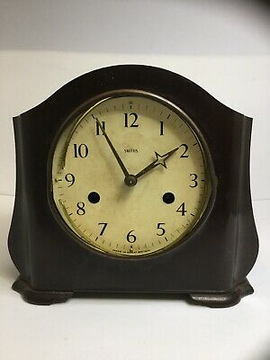 Vintage Art Deco SMITHS Bakelite Mantel Mantle Clock With Pendulum, Runs
