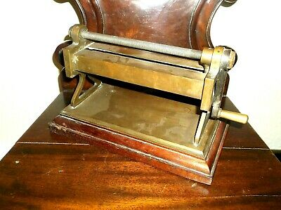 Rare Antique 19Th Century Precision Made Tobacco Cutter, Brass & Mahogany Base