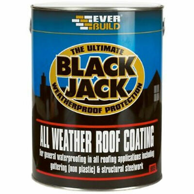 EVERBUILD 5 Litre All Weather Roof Coating Compound paint seal finish 905 BLACK