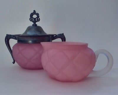 Antique Consolidated Quilted Pink Satin Glass Creamer & Sugar W/ Silver Pltd Lid