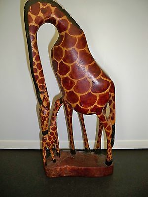Hand Carved Mother Giraffe And Baby Wooden Figurine From Kenya