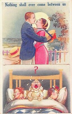 Vtg Postcard Nothing Will Come Between Us ~ Crying Kids ~ Marriage Humor  / A38