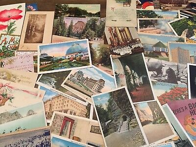 LOT of 50 VINTAGE US POSTCARDS Early 1900s - 1970s Antique Random Mixed Views