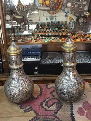Antique Islamic Damascus Mamluk Brass With Silver Inlaid  Arabic Vase Pair
