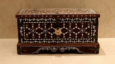 antique rare and museum huge wood box Decorated with camel bones Islamic Damascu