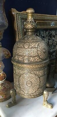 Antique Rare  Islamic Cairoware Silver Inlay Revival Mumluk Incense Burner
