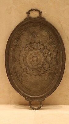Antique persian  Rare Large Hand Made brass Copper Damascus islamic Tray 19 th c