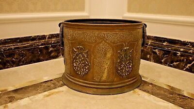 antique luxury huge planter bowl container brass Islamic  Morocco
