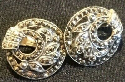 Vintage 1920s/1930s ART DECO Round Silver & Marcasite Clip On earrings