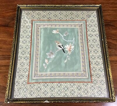 Chinese Embroidery Panel Silk Framed Vintage Embroidered Textile Bird