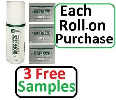 Biofreeze Pain Relief 3 oz. Roll-on Professional (3 FREE Samples)