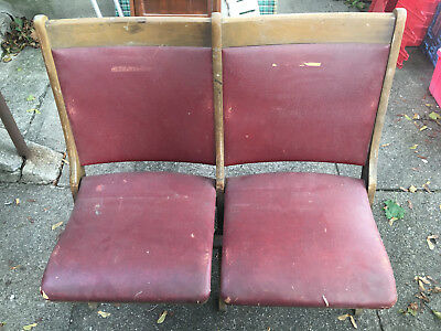 Vintage Wooden Wood Dual Double Movie Theater Stadium Folding Chairs Seats